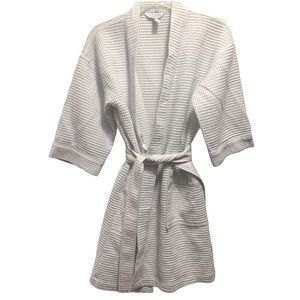 Charter Club Cozy Pocketed White Knit Robe
